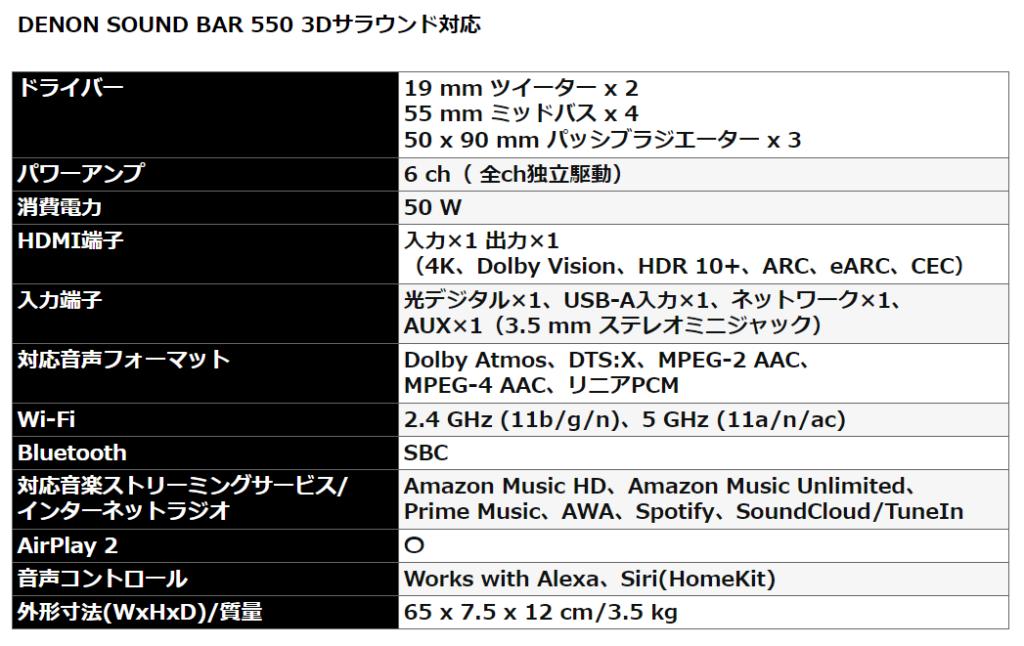 デノン DENON SOUND BAR 550 3Dサラウンド対応の仕様